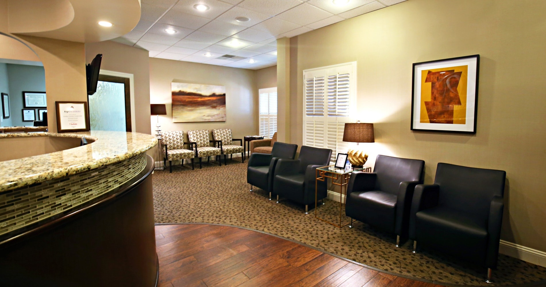 Front desk waiting room at Carmel Professional Dentistry